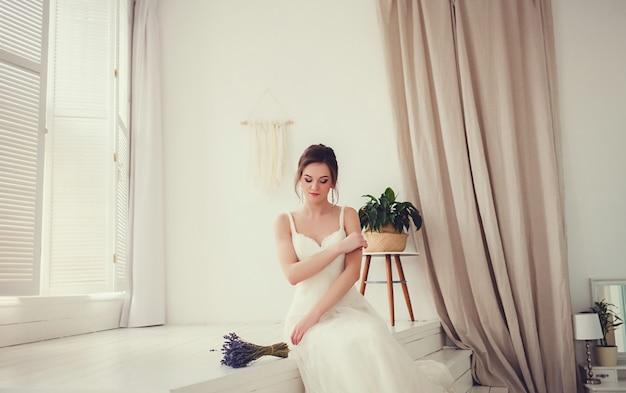 Retrato, de, jovem, deslumbrante, noiva
