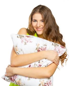 Retrato, de, jovem, mulher bonita, com, travesseiro