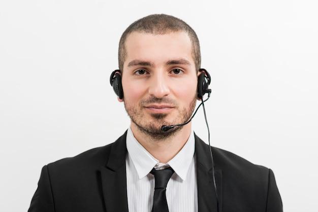 Retrato, de, macho, centro call, agente
