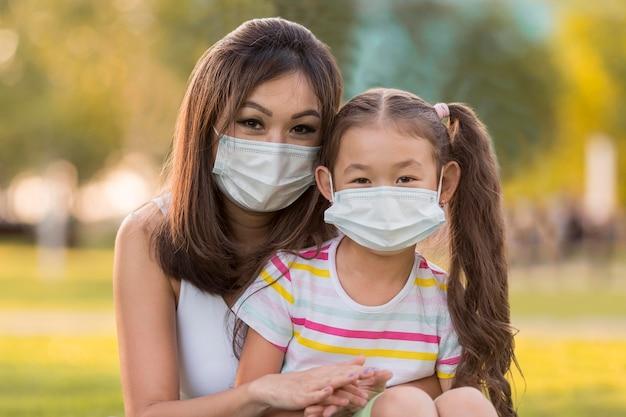 Retrato de mãe e filha asiática com máscaras médicas