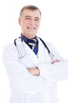 Retrato de médico feliz e sorridente com estetoscópio