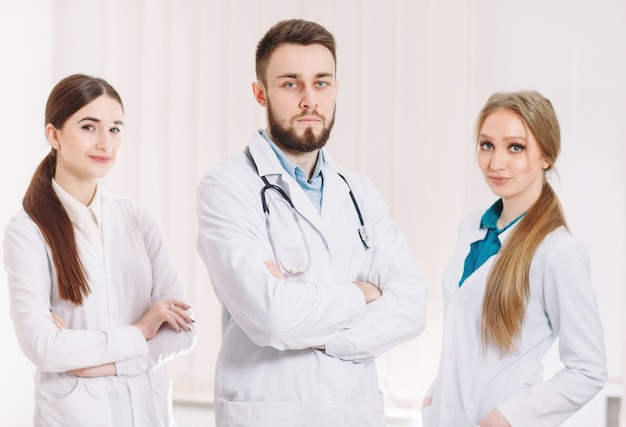 Retrato de médicos.