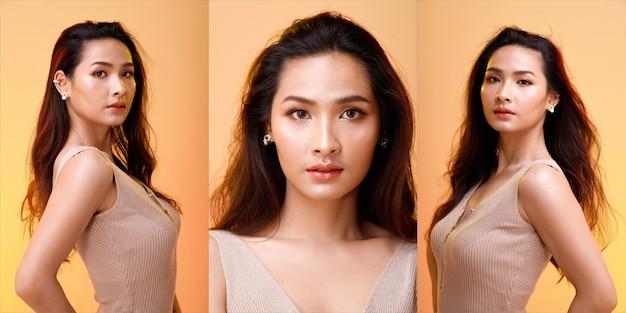 Retrato de meio corpo dos anos 20 asiático lgbtqia + calça larga branca de cabelo preto de mulher. garota transgênero gira 360 em torno da visão traseira do lado traseiro muitas poses sobre o branco.
