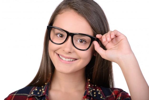 Retrato, de, menina adolescente, com, óculos