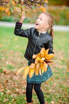 Retrato de menina adorável com amarelo e laranja deixa o buquê ao ar livre no lindo dia de outono
