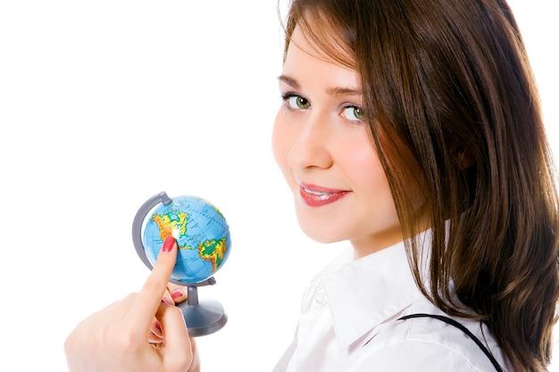 Retrato de menina bonita com globo mostra dedo américa do norte