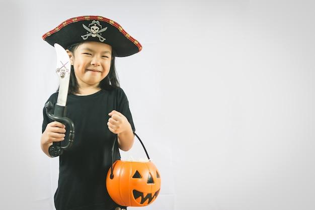 Retrato, de, menininha, em, pirata