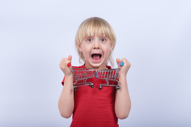 Retrato de menino com carrinho de compras de dois brinquedos. compras para o conceito de criança