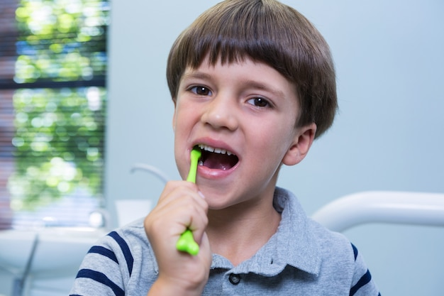 Retrato de menino escovando os dentes