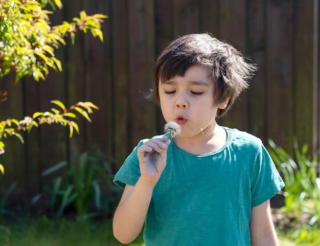 Retrato de menino soprando dente de leão com dia ensolarado luz brilhante, garoto ativo brincando ao ar livre na primavera ou no verão, criança relaxante no jardim no intervalo da escola, distanciamento social durante a quarentena