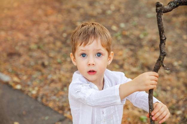 Retrato de menino surpreso bonito da criança. expressão facial