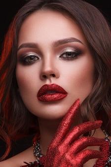 Retrato de modelo com maquiagem natural