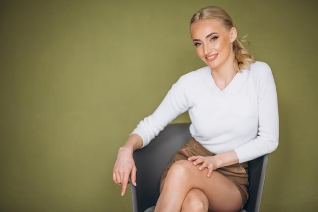 Retrato, de, mulher, cuidado pele
