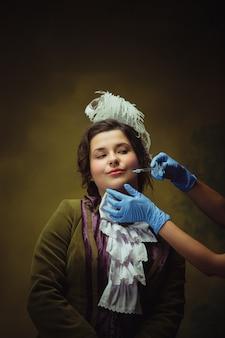 Retrato de mulher de estilo moderno do período renascentista