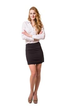 Retrato de mulher de negócios sorridente, isolado no fundo branco