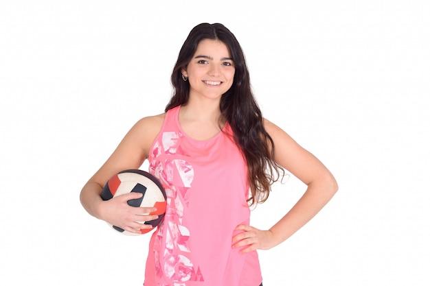 Retrato de mulher de voleibol.