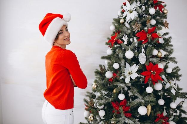Retrato, de, mulher, em, chapéu santa, ligado, natal