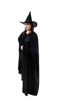 Retrato, de, mulher, em, pretas, assustador, bruxa, dia das bruxas traje, ficar, com, chapéu, isolado, branca