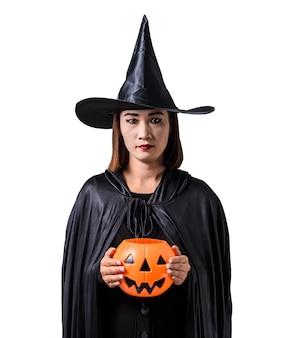 Retrato, de, mulher, em, pretas assustador, bruxa, dia das bruxas traje, ficar, com, chapéu