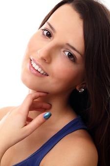 Retrato de mulher jovem, sorriso perfeito