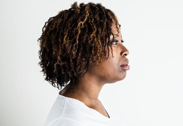 Retrato, de, mulher preta, isolado
