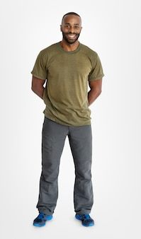 Retrato, de, muscular, homem americano africano