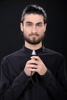 Retrato, de, padre, ficar, isolado, ligado, pretas