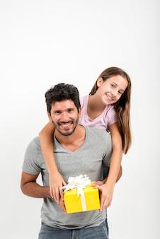 Retrato, de, pai filha, ligado, dia pais