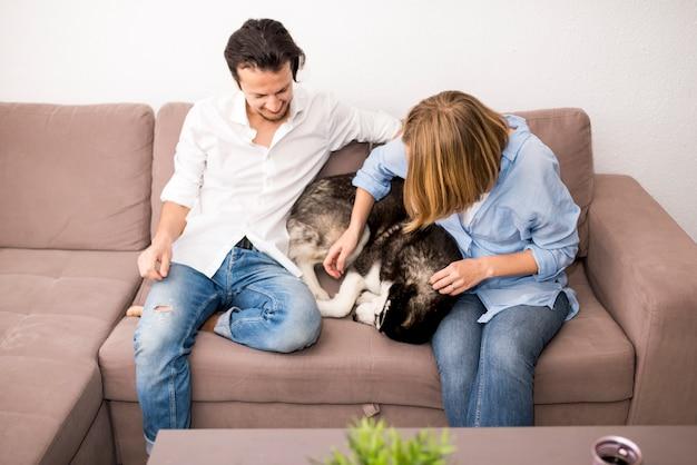 Retrato, de, par feliz, casa, com, cão