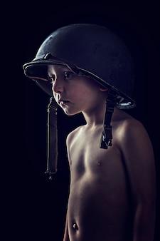 Retrato, de, pequeno, soldado