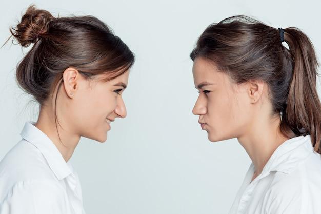Retrato de perfil de estúdio de irmãs gêmeas jovens do sexo feminino em cinza