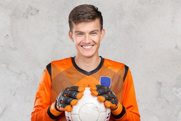 Retrato, de, profissional, jogador futebol