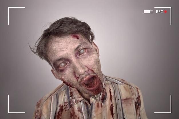 Retrato, de, sangrento, asian zombie, homem