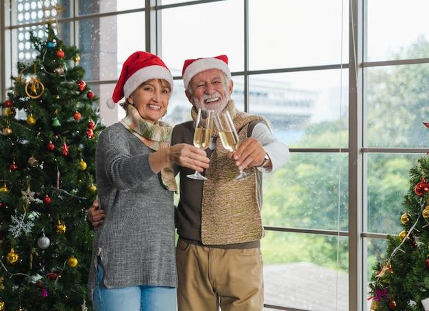 Retrato de sorridente casal sênior bonito abraçando, segurando e aplausos a taça de champanhe juntos ao lado da árvore de natal decorada na aconchegante sala de estar com janela no inverno. feliz natal.
