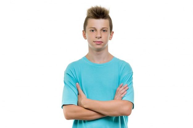 Retrato, de, sorrindo, adolescente, menino
