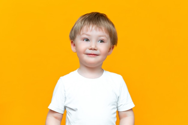 Retrato, de, sorrindo, criança feliz, 3, anos velho, raça misturada, metade, asiático, metade, caucasiano, com, cabelo loiro, e, olhos verdes