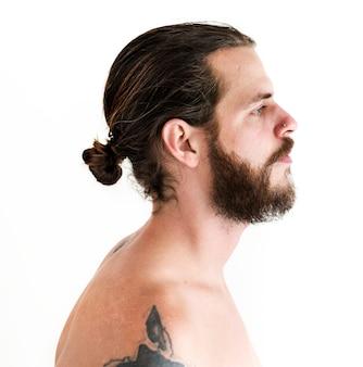 Retrato, de, tatuado, homem