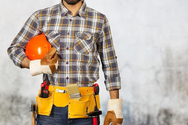 Retrato, de, trabalhador construção