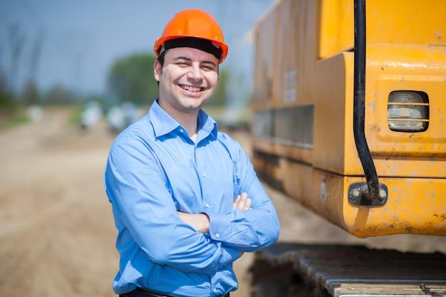 Retrato, de, trabalhador, em, um, local construção