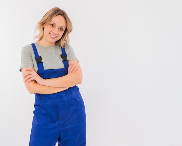 Retrato, de, trabalhador, mulher