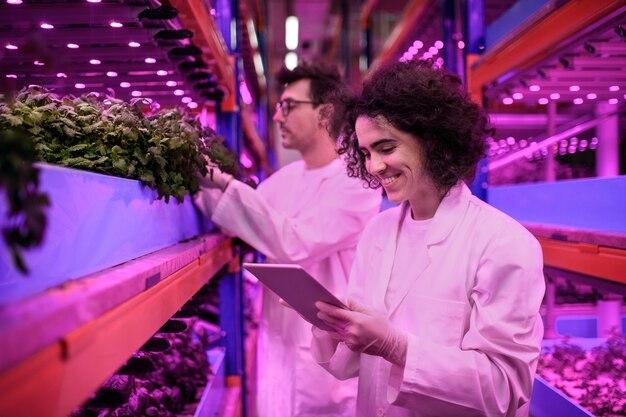 Retrato de trabalhadores usando tablet na fazenda aquaponic, negócios sustentáveis e iluminação artificial.