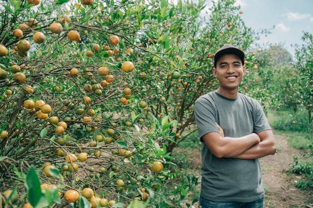 Retrato de um agricultor feliz cruzando os braços em um campo de laranjeira