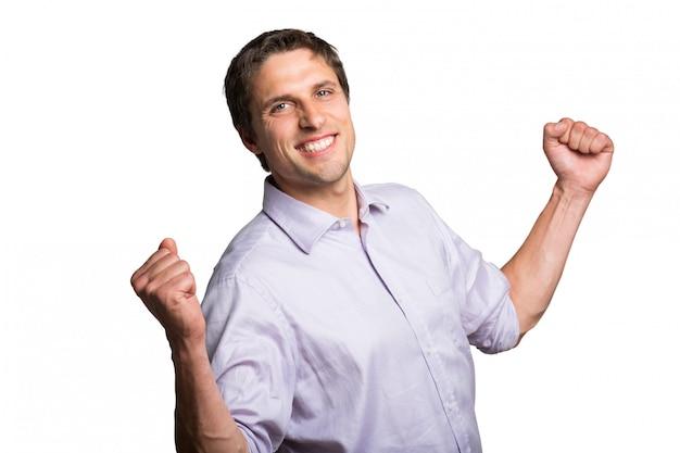 Retrato, de, um, alegre, jovem, homem negócios, alegrando