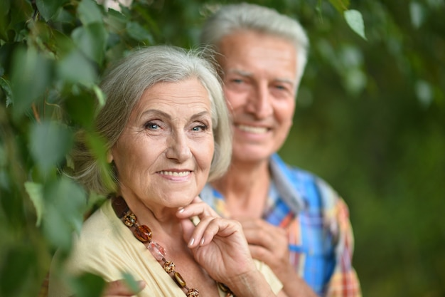 Retrato de um belo casal maduro em spring park