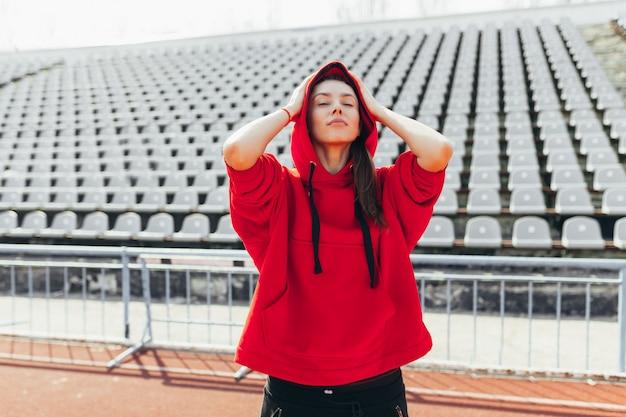 Retrato, de, um, bonito, caucasiano, menina, atleta