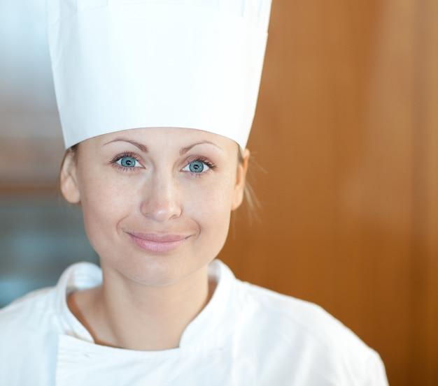 Retrato, de, um, bonito, femininas, cozinheiro