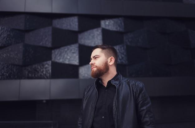 Retrato, de, um, bonito, homem barbudo
