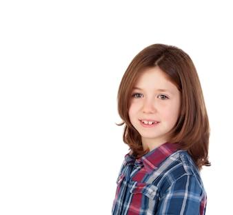 Retrato, de, um, bonito, menina, com, camisa xadrez