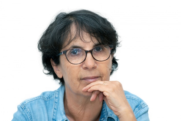 Retrato, de, um, bonito, mulher madura, com, óculos