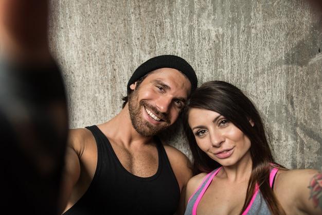 Retrato de um casal de atleta